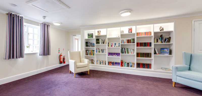 Reading room at South Moor Lodge care home